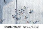 people walk on across the... | Shutterstock . vector #597671312