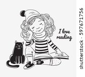 cute  funny girl reads a book | Shutterstock .eps vector #597671756