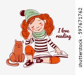 cute  funny girl reads a book | Shutterstock .eps vector #597671762