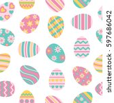 easter seamless pattern with... | Shutterstock .eps vector #597686042