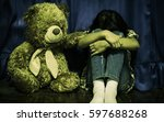 child lonely alone in an empty... | Shutterstock . vector #597688268