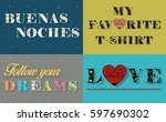 inscriptions by floral artistic ... | Shutterstock . vector #597690302