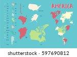 world map america  highly... | Shutterstock .eps vector #597690812