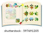 jigsaw puzzle pieces for... | Shutterstock .eps vector #597691205