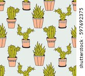 cactuses background  hand drawn ... | Shutterstock .eps vector #597692375