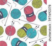 seamless pattern with tools for ... | Shutterstock .eps vector #597692378