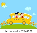 children on school bus vector | Shutterstock .eps vector #59769562