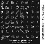 business set sketch vector ink... | Shutterstock .eps vector #597696062