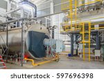 gas boilers in gas boiler room... | Shutterstock . vector #597696398