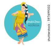vector stock of pendet dance ... | Shutterstock .eps vector #597699332