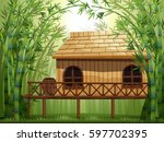 wooden cabin in bamboo forest... | Shutterstock .eps vector #597702395