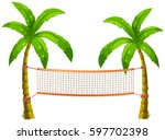 volleyball net on coconut trees ...   Shutterstock .eps vector #597702398