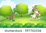 turtle and rabbit running in... | Shutterstock .eps vector #597702536