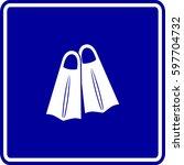 swimming fins sign | Shutterstock .eps vector #597704732