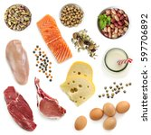 Stock photo food sources of protein isolated top view includes meat fish dairy beans nuts and seeds 597706892