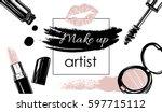 makeup artist banner. vector... | Shutterstock .eps vector #597715112