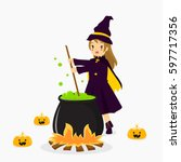 Witch Stirring Potion On A...