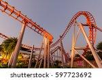 Roller Coasters At Fun Park At...
