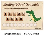 spelling word scramble game for ... | Shutterstock .eps vector #597727955