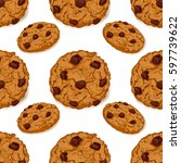 seamless pattern with delicious ... | Shutterstock .eps vector #597739622