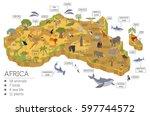 flat 3d isometric africa flora... | Shutterstock .eps vector #597744572