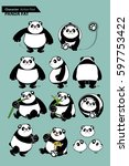 panda fat character design set | Shutterstock .eps vector #597753422