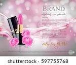glamorous lipsticks ads ... | Shutterstock .eps vector #597755768