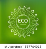 lace eco label on a green... | Shutterstock .eps vector #597764015