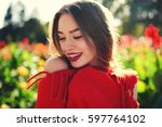 dreamy young hipster girl...   Shutterstock . vector #597764102