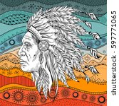 man in the native american...   Shutterstock .eps vector #597771065