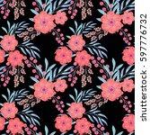 seamless floral pattern.... | Shutterstock . vector #597776732