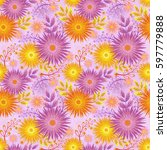 seamless floral pattern of pink ...   Shutterstock .eps vector #597779888