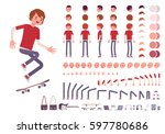 Teenager boy character creation set. Full length, different views, emotions, gestures, isolated against white background. Build your own design. Cartoon flat-style infographic illustration | Shutterstock vector #597780686