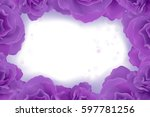 violet rose frame for... | Shutterstock .eps vector #597781256