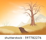Dry Tree Scene Vector Nature...