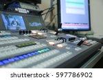 video broadcast editor watching ... | Shutterstock . vector #597786902