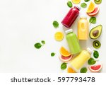 various kind of smoothies or... | Shutterstock . vector #597793478