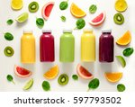 various kind of smoothies or... | Shutterstock . vector #597793502