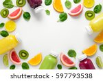 various kind of smoothies or... | Shutterstock . vector #597793538