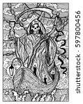 the death  grim reaper. hand...   Shutterstock .eps vector #597800456