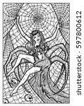 arachne. spider woman. hand...   Shutterstock .eps vector #597800612