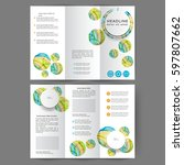 color tri fold business... | Shutterstock .eps vector #597807662
