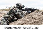 machine gunner of 1st marine... | Shutterstock . vector #597812282