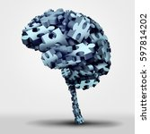 Stock photo brain puzzle concept and neurological or psychological health symbol icon as a a group of d 597814202