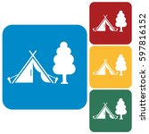 stylized icon of tourist tent.... | Shutterstock .eps vector #597816152
