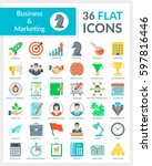 set of modern flat icons of... | Shutterstock .eps vector #597816446