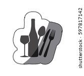 grayscale wine bottle  glass... | Shutterstock .eps vector #597817142