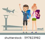 young travelers flying around... | Shutterstock .eps vector #597823982