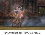 khon thai dancing performers ... | Shutterstock . vector #597837812