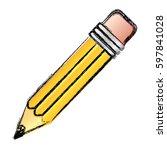 contour pencil icon stock ... | Shutterstock .eps vector #597841028